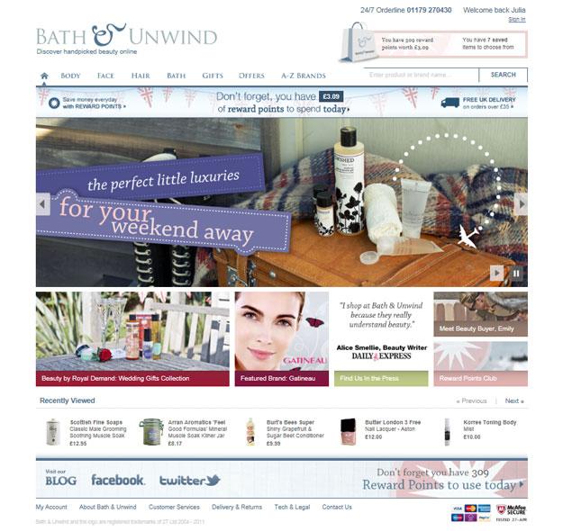 Bath & Unwind homepage