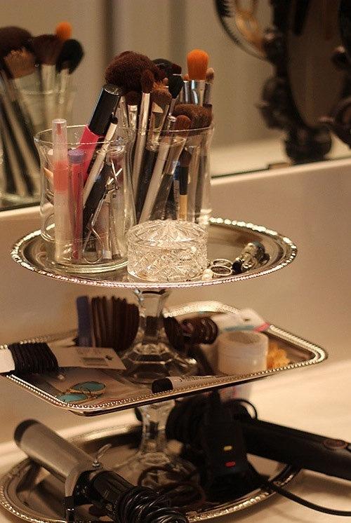 Fabulous Upcycled, classy, elegant make up/bathroom organizer