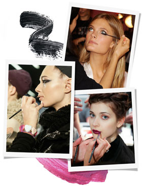 Backstage makeup looks at Fashion Week - images courtesy of Rex Images