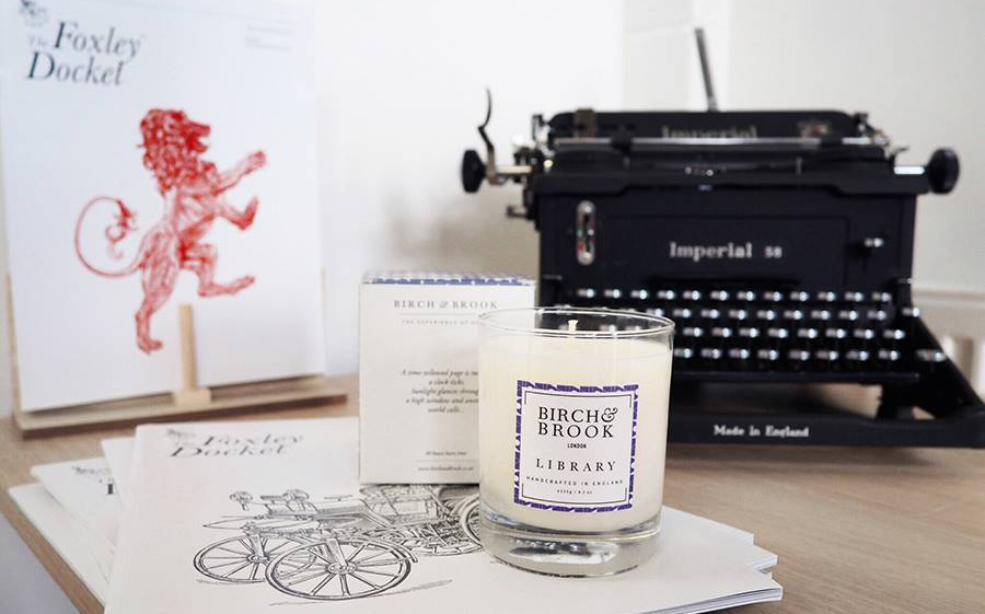 birch and brook library candle lifestyle image